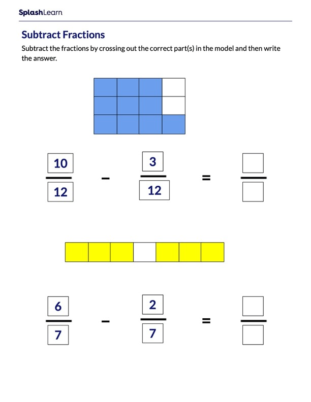 Subtract Like Fractions using Area Models