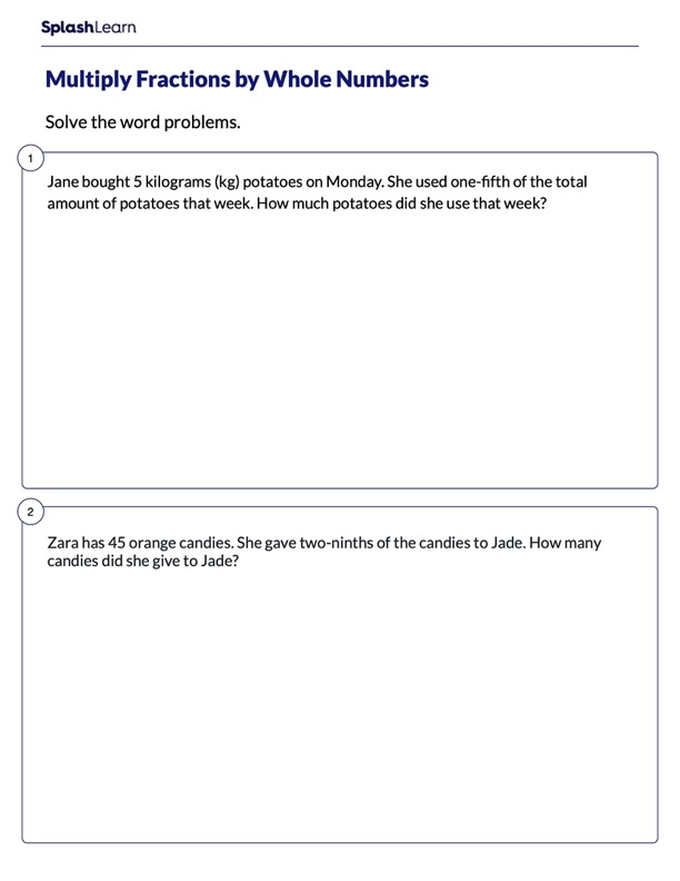Multiply Fractions by Whole Numbers Word Problems