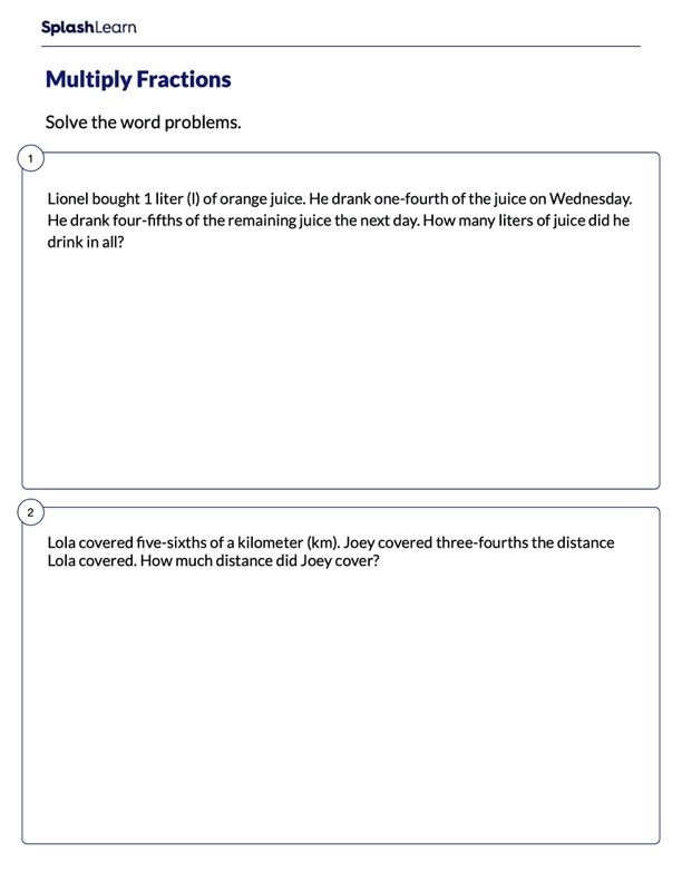 Word Problems on Multiplying Fractions