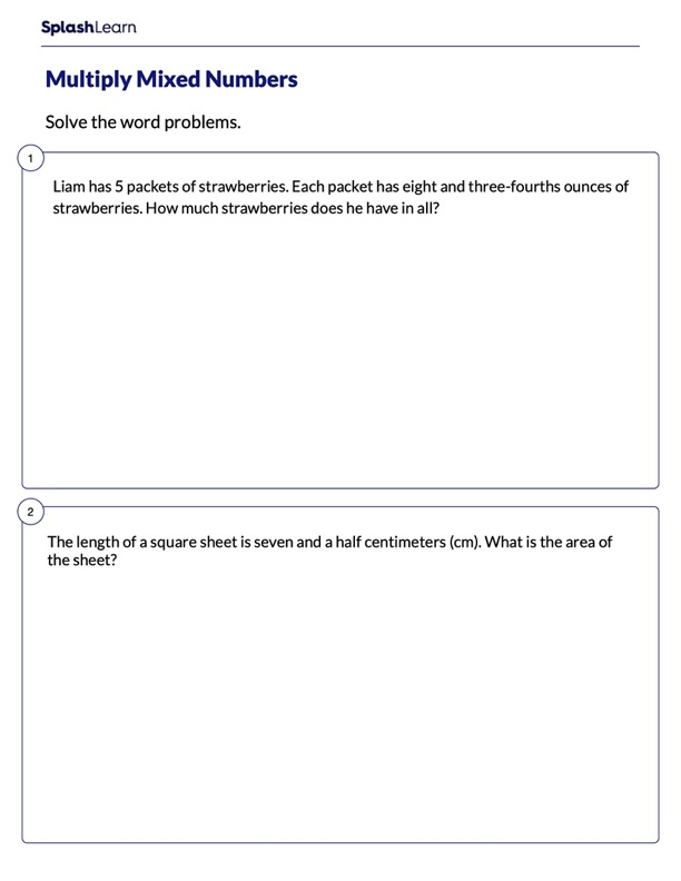 Word Problems on Multiplying Mixed Numbers
