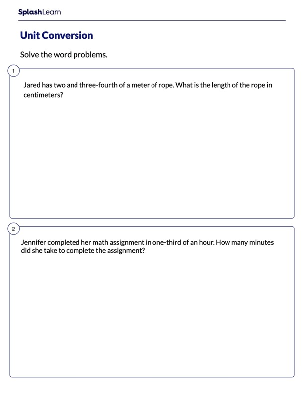 Word Problems on Unit Conversion
