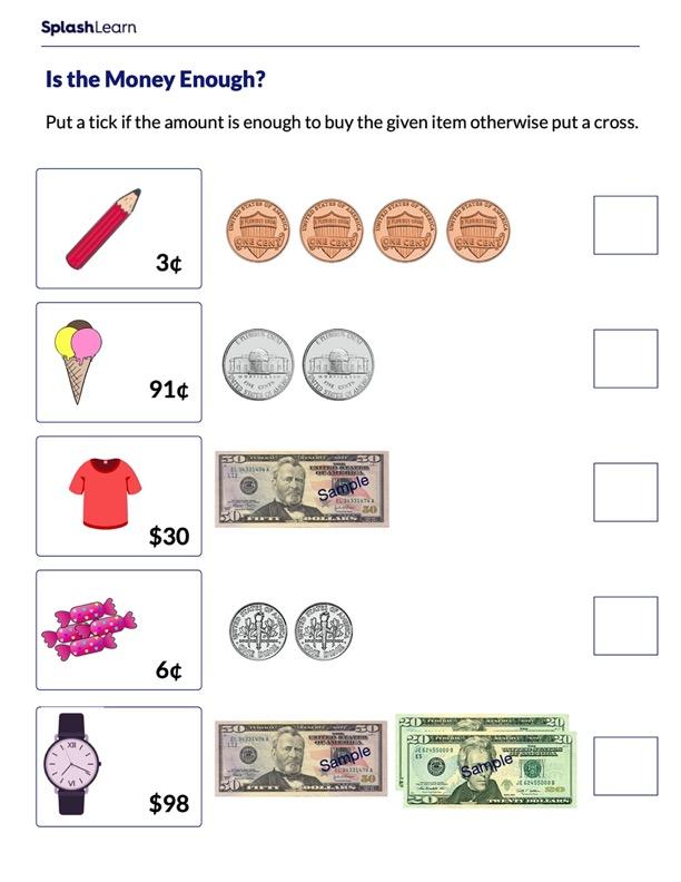 Compare Amounts of Money