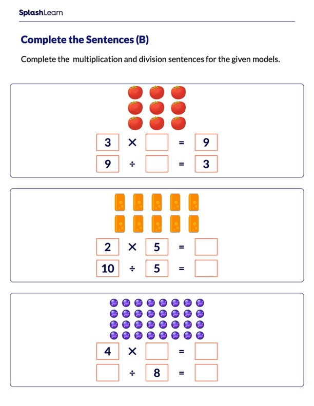 Complete Multiplication and Division Sentences