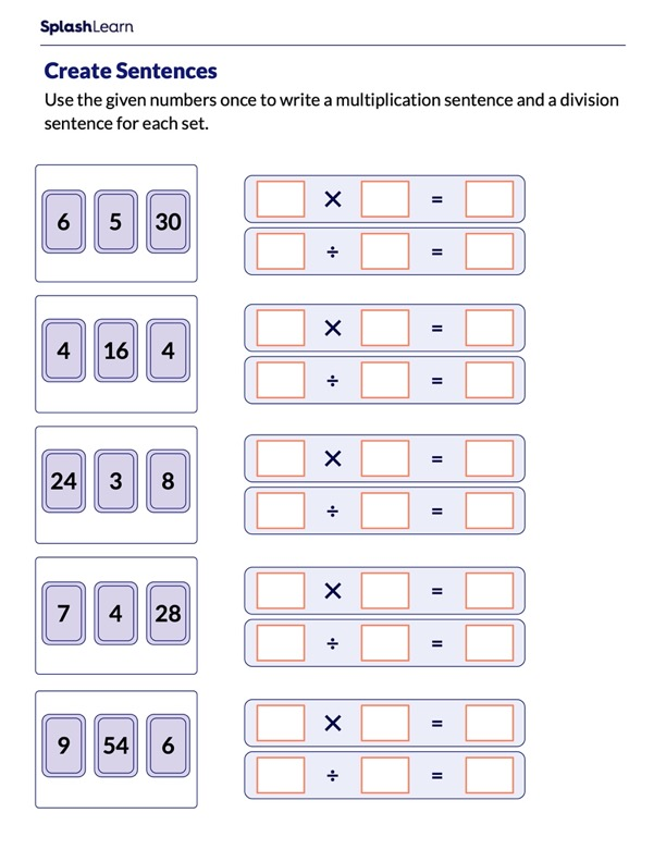 Write Multiplication and Division Sentences