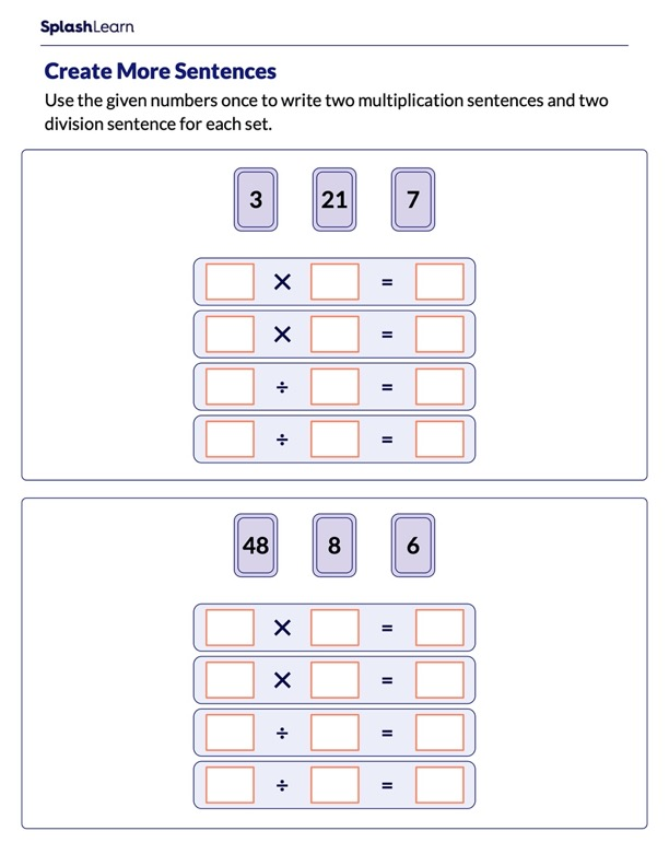 Create Multiplication and Division Sentences