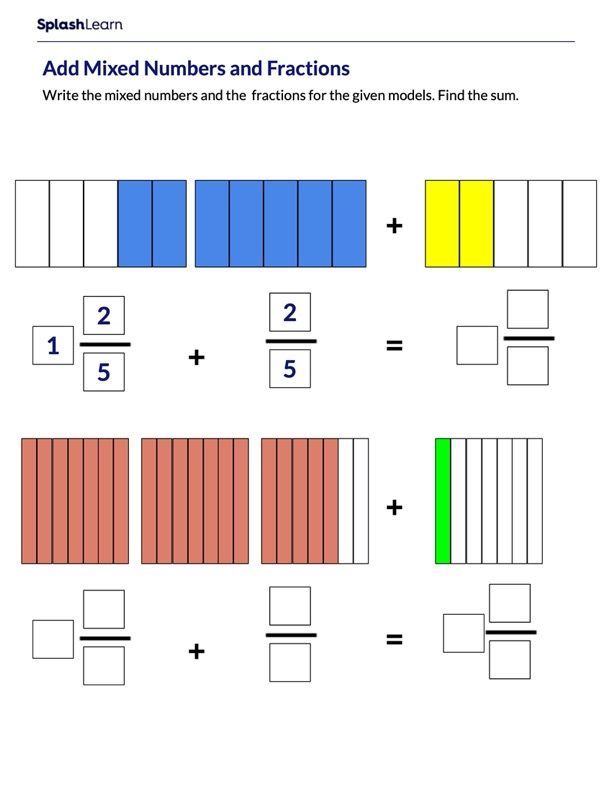 Add Mixed Numbers and Fractions using Models