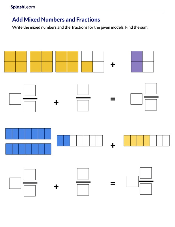 Add Mixed Numbers and Fractions using Area Models