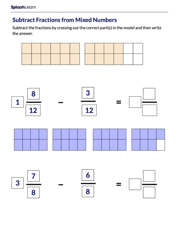 Subtract Fractions from Mixed Numbers Using Models