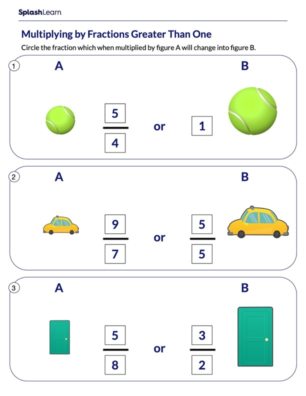 Multiply by Fractions Greater Than One