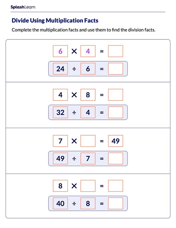 Divide Using Multiplication Fact
