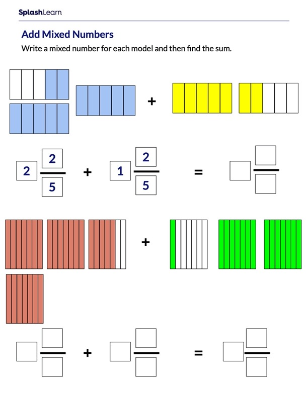 Add Mixed Numbers Using Models