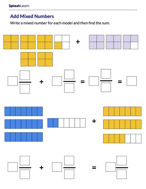 Add Mixed Numbers Using Visual Models