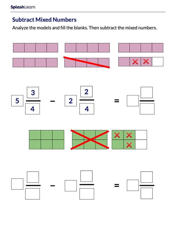 Subtract Mixed Numbers Using Models