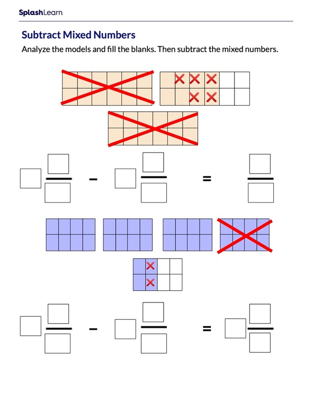 Subtract Mixed Numbers Using Visual Models