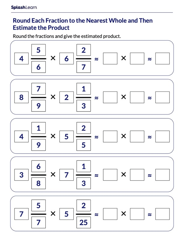 Estimate Fractions Products by Rounding
