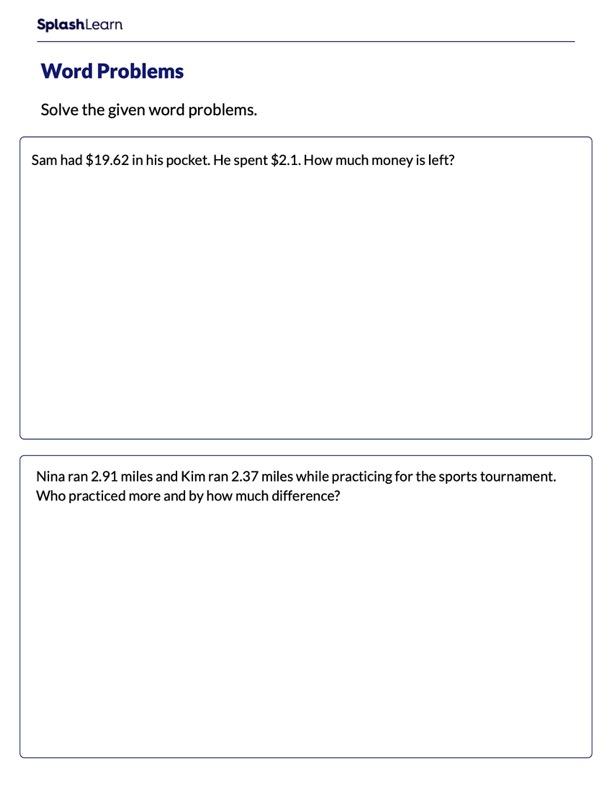 Word Problems on Subtracting Decimals