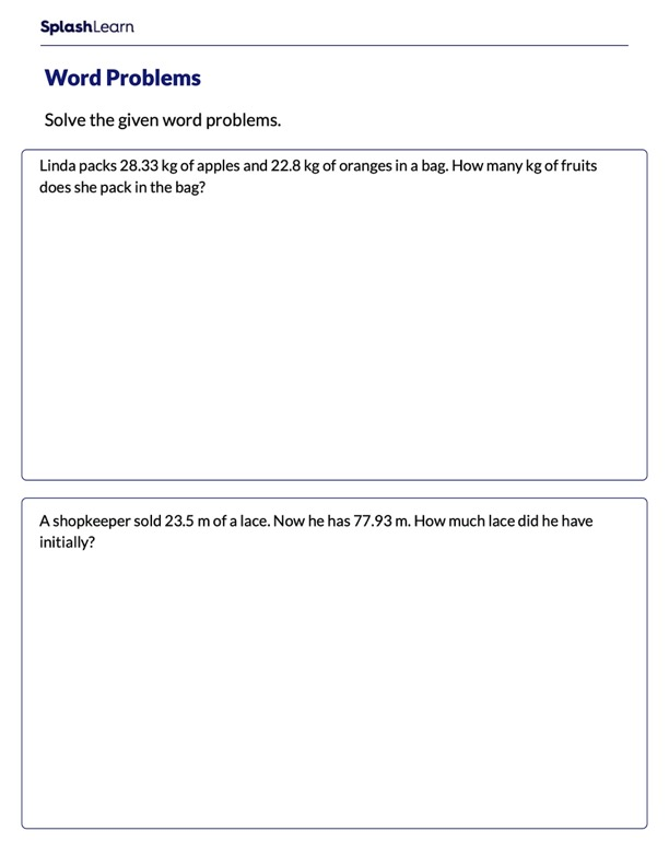 Word Problems on Adding Decimals