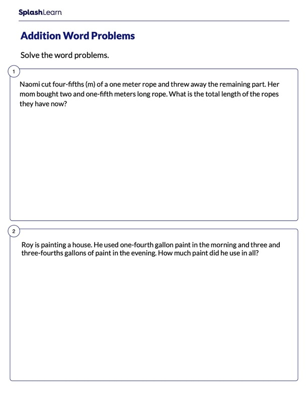 Word Problems on Adding Fractions & Mixed Numbers