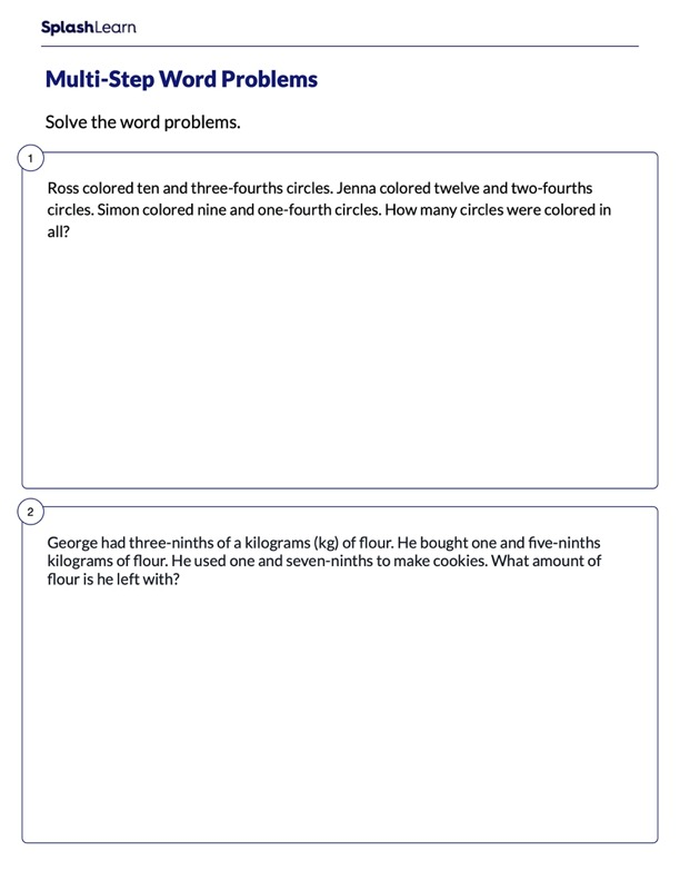 Multi-Step Word Problems on Fractions