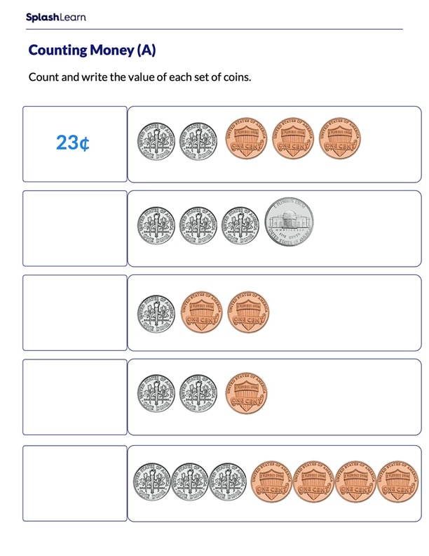 Add Coins to Write the Total Amount