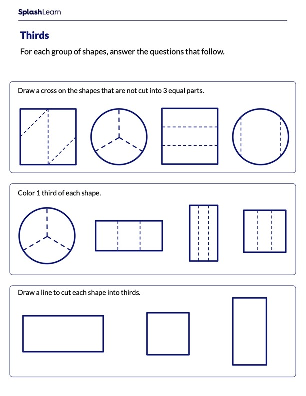Partitioning Shapes into Thirds