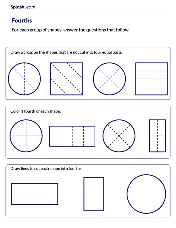 Partitioning Shapes into Fourths