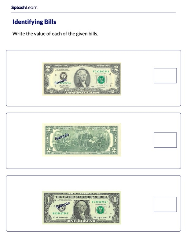 Values of One- and Two-Dollar Bills