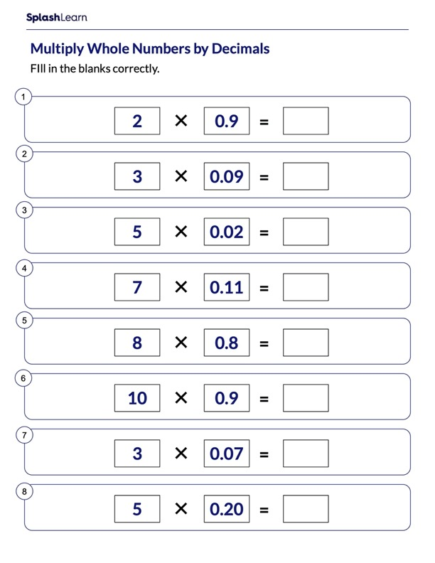 Multiplying Whole Numbers by Decimals