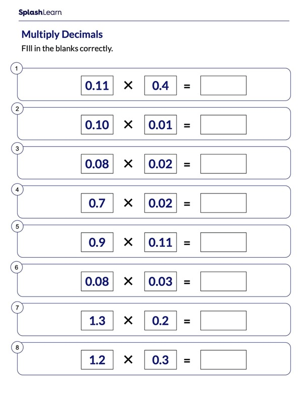 Multiplying Decimals Numbers