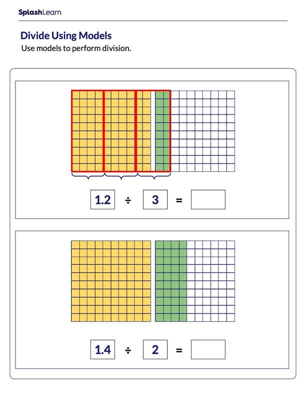 Divide Decimal Number by Whole Number Using Models