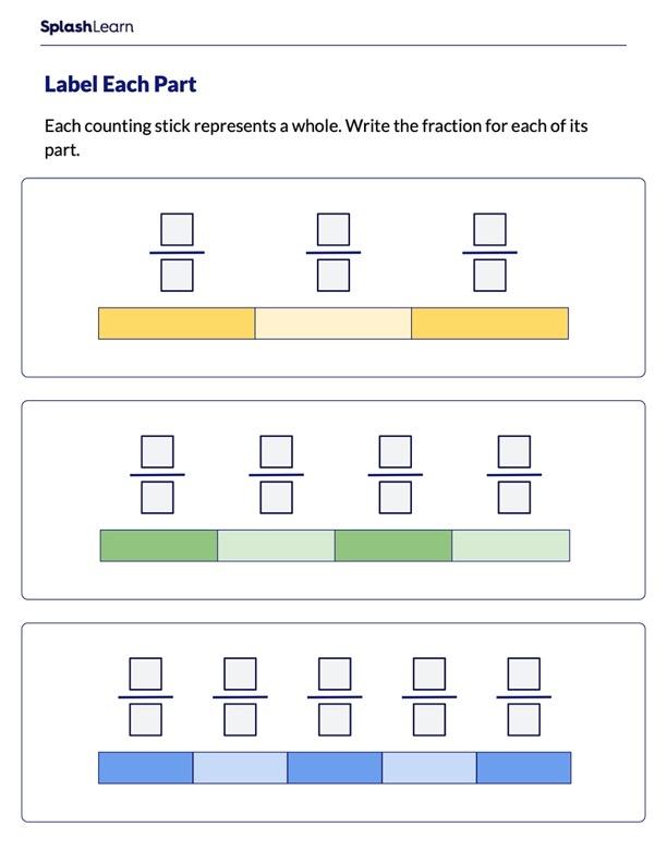 Write Fraction for Each Part