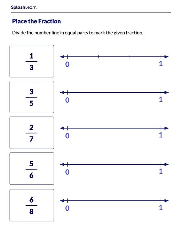 Mark the Fraction on Number Line