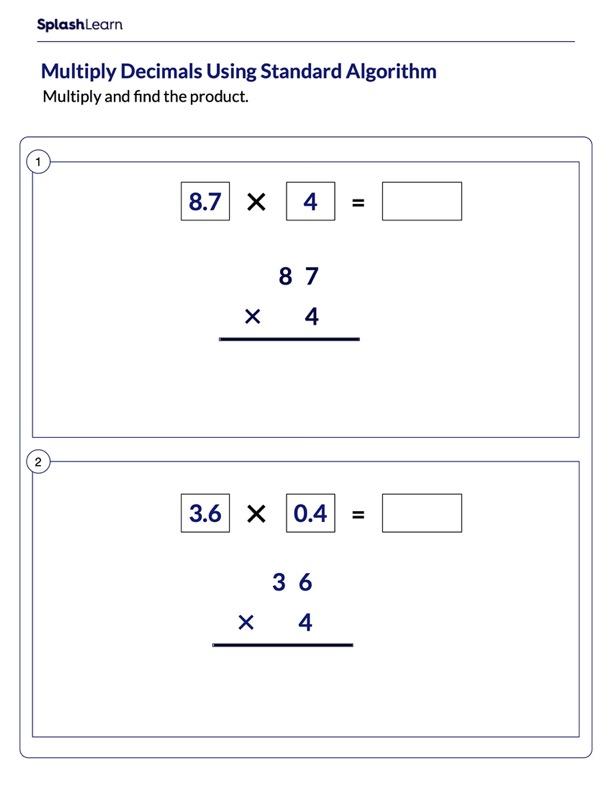 Multiply Decimal Numbers Using Standard Algorithm