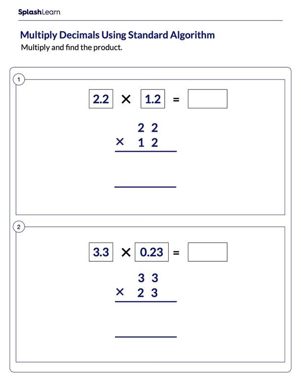 Multiplying Decimals Using Standard Algorithm