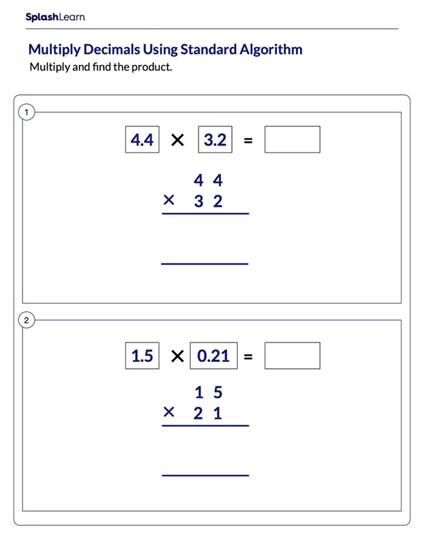 Multiply Decimal Numbers Using Column Method