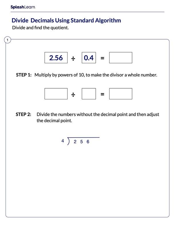 Demonstrate Steps to Divide Decimals