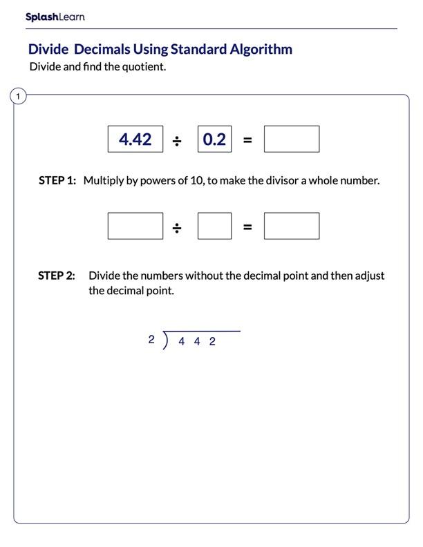 Standard Algorithm Steps to Divide Decimals