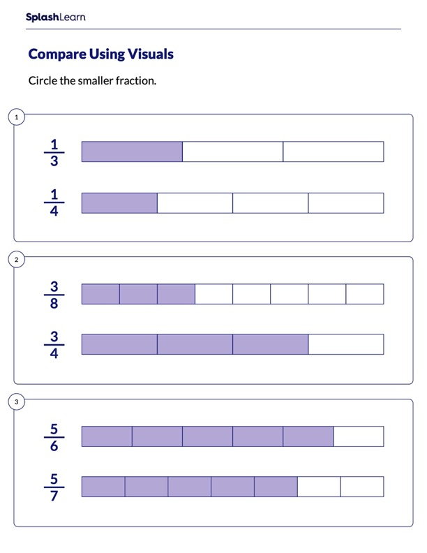 Compare Fractions Using Visuals