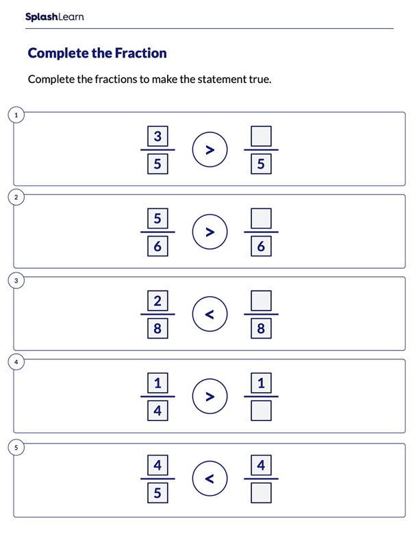 Compare & Complete the Fraction