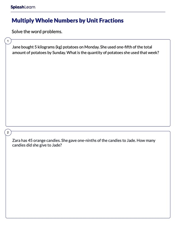 Word Problems on Product of Unit Fraction & Whole