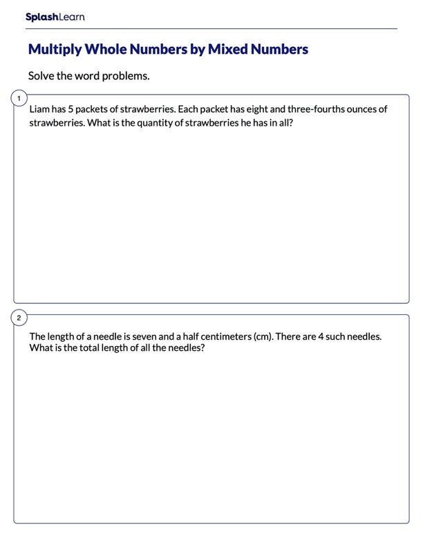 Problems on Multiplying Whole & Mixed Numbers