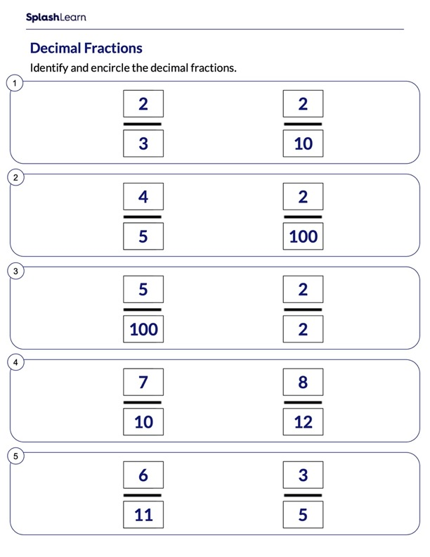 Identify the Decimal Fractions