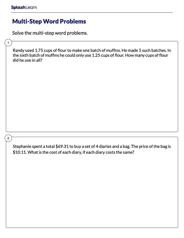Multi-Step Word Problems on Decimals