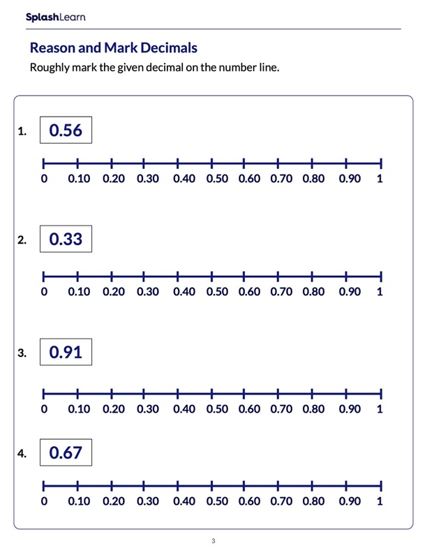 Mark the Decimals on a Number Line