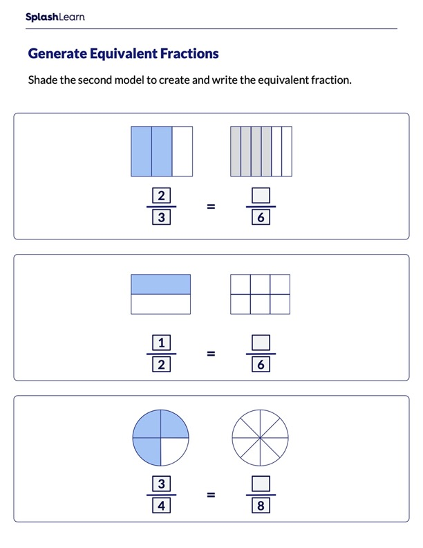 Shade to Make Fractions Equivalent