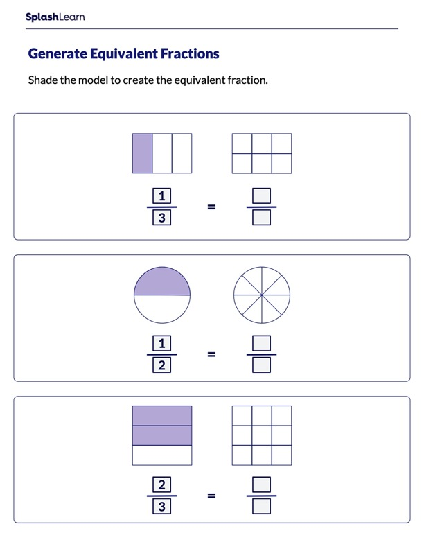 Shade & Make Fractions Equivalent