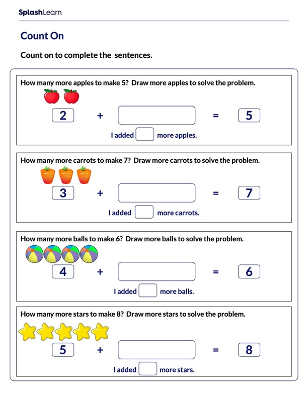 Complete Sentences Using Count On