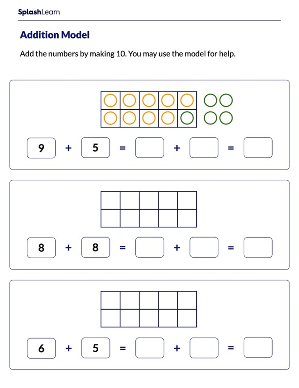Make 10 Strategy to Add Numbers on a Ten-Frame