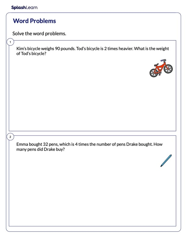 Solve the Multiplication Word Problems