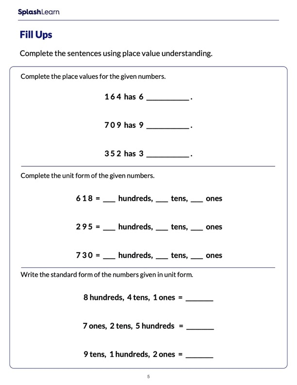 Use Place Value to Fill in the Blanks